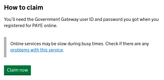 Gov.uk Login button