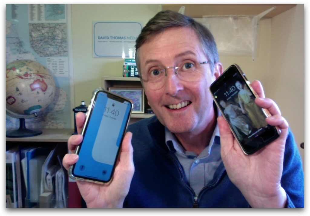 David shows off two phones