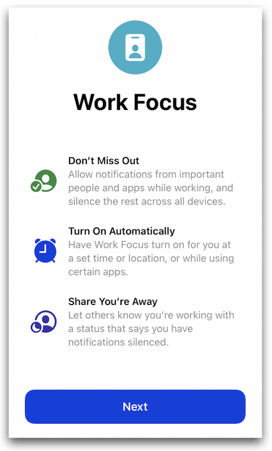 Work focus page